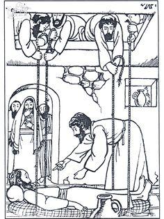 1) Jeesus parantaa halvaantuneen2) Kuvasarja aiheesta http://www.lambsongs.co.nz/Bible%20Story%20Books/Down%20Through%20Roof%20col.pub