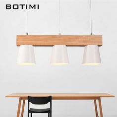 Botimi Nordic Design Pendant Lights With Triple Metal Lampshade Lamparas Colgantes Modern Wood Hanging Lamp E27 Suspension Light-in Pendant Lights from Lights & Lighting on Aliexpress.com | Alibaba Group
