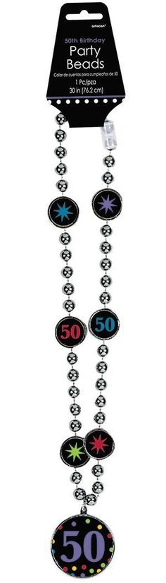 50th Birthday Beaded Necklace with Medallion