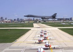 """Winnipeg International Airport during a summer air show. A USAF Bone Bomber is doing a low approach while Canada's """"Snow Birds"""" wait to backtrack the runway. Military Jets, Military Aircraft, B1 Bomber, Canada Snow, Train Truck, Air Fighter, Free Desktop Wallpaper, Home Of The Brave, Air Show"""