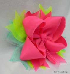 Neon+Big+Hair+Bow+Pink+Lime+Aqua+Boutique+bow+by+PoshPrincessBows1,+$12.75