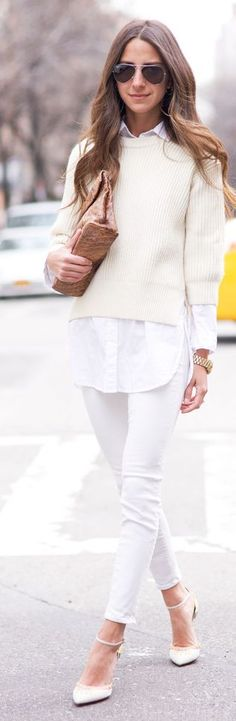 Shades Of White Outfit Idea