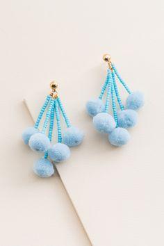 Blue Jade White Fashion Jewelry Hard-Working Threaded Anklet With Pom Pom Tassels
