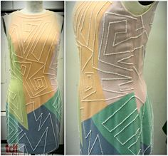 This dress is so weird, the beading and color blocking go against the idea of lines. This dress was carefully designed, but it feels so loose and free! It's from the Papermill Playhouse production of Dreamgirls. Whatever chorus person was lucky enough to wear this dress must have felt very mod at the time. #TDFCC #KeepingUpWithTheCostumes #1960s #Dreamgirls