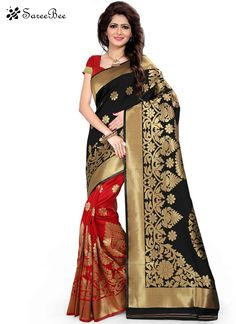Staring Art Silk Black And Red Woven Work Designer Traditional Saree Enchant the mantra of being stylish in this attire. Include yourself in the glamour of the season with this elegant black and red art silk designer traditional saree. The woven work appears to be chic and best for any celebration. Comes with matching blouse.