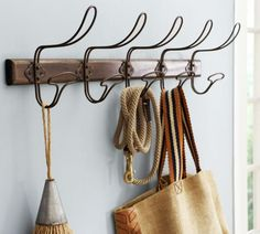 Wire & Wood Row of Hooks - pottery barn