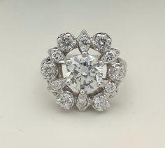 Ladies 14k Solid White Gold 1 5ct VS2 Round Brilliant Cut Diamond Cocktail Ring