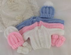 Baby Knitting Pattern Boys - Girls- Early Baby -Reborn Dolls - Sweater Set -  Download PDF Cardigan - Hat & Mittens in 3 Sizes