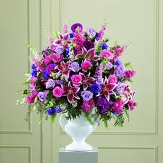 Flowers The FTD® Peaceful Tribute™ Arrangement FTD Florist Flower and Gift Delivery Funeral Floral Arrangements, Large Flower Arrangements, Church Flowers, Funeral Flowers, Wedding Flowers, Flower Factory, Purple Lily, Memorial Flowers, Hot Pink Roses
