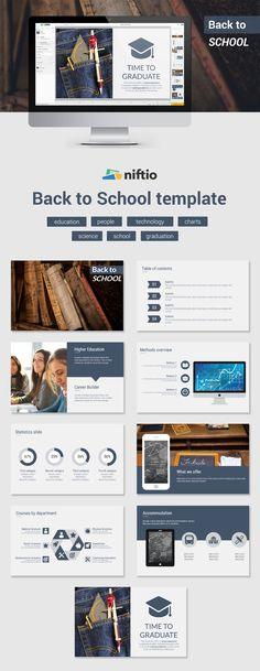 One last school project to go and then you can fully enjoy your summer holiday. Use this template to present it and impress your teachers with a nifty looking presentation. Presentation Slides, Presentation Templates, School Template, Ppt Template, Chart School, Back To School, High School, Business Proposal, Slide Design