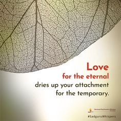 Love for the eternal dries up your attachment for the temporary. #SadguruWhispers #Quotes #QOTD #Love #Illustration #Photoshop #Edit #Layout Contentment Quotes, Daily Motivational Quotes, Stay Happy, Inspirational Message, Wise Words, Love Quotes, Tapestry, Qoutes Of Love, Hanging Tapestry