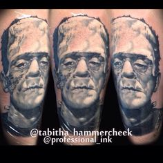 Black and gray movie monster classic Frankenstein portrait by Tabitha Hammercheek at Professional ink Tattoo Studio
