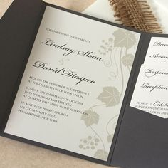 Grape Vine Wedding Invitation, Vineyard Wedding Invitation, SAMPLE by willowglenstationery on Etsy https://www.etsy.com/listing/179978222/grape-vine-wedding-invitation-vineyard