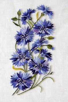 cornflower blue. bachelor's buttons embroidery
