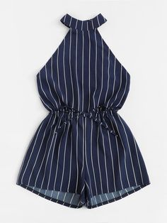 Drawstring Waist Open Back Striped Romper Source by martyh Outfits ve… - Kindermode 2020 Frocks For Girls, Dresses Kids Girl, Cute Girl Outfits, Teenage Outfits, Cute Summer Outfits, Cute Casual Outfits, Outfits For Teens, Pretty Outfits, Girls Fashion Clothes