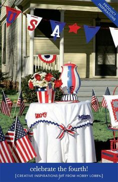Create one-of-a-kind decorations for an unforgettable Fourth of July Celebration with these inspirations, including: pillows, place settings, bird bath, picnic basket and wreaths.