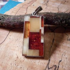 Beautiful inlay Baltic Amber Pendant by LanciaArts on Etsy