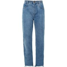 Chloé Frayed-hem wide-leg jeans (4 010 SEK) ❤ liked on Polyvore featuring jeans, pants, chloe, high waisted denim jeans, cuff jeans, cuffed denim jeans, frayed jeans and wide leg blue jeans