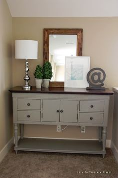 Easy furniture makeover using Annie Sloan Chalk Paint in French Linen - Possible color pallet (warm cocoa walls, grey painted furniture, blue accents).