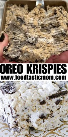 Krispie Treats The classic treat gets jazzed up with the addition of crushed Oreos, extra marshmallows and butter.The classic treat gets jazzed up with the addition of crushed Oreos, extra marshmallows and butter. Yummy Snacks, Yummy Treats, Delicious Desserts, Yummy Food, Oreo Treats, Snacks Recipes, Oreo Rice Krispie Treats, Marshmallow Treats, Cereal Treats