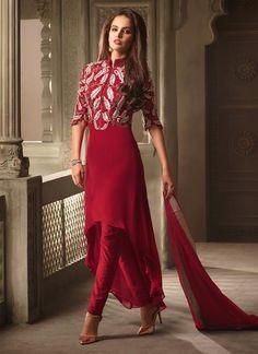 Royal Maroon Churidar Designer Suit                                                                                                                                                                                 More