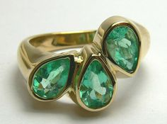 Pear Shaped Colombian Emerald & Gold Ring by JRColombianEmeralds, $1284.00