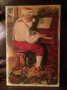 Nostaglic Vintage Santa photo transfer on wood. $20.00 www.etsy.com/shop/singingheartdesigns