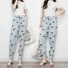 Women Baggy Harem Tapered Pant Trousers Pocket Cute Dog Blue