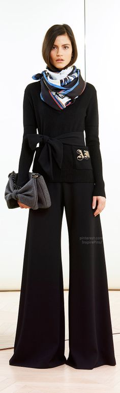 wide pants are supposed to be good for pear shapes (I'm an apple, so I'm just saying what women told me for an article) Alexis Mabille