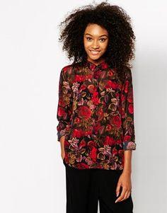 Monki Rose Print Sleeve Blouse