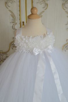 White chiffon Hydrangea flower girl  tutu dress