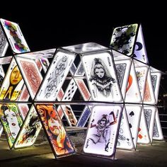 """A fast favourite, the """"House of Cards"""" installation outside Central Station at the Amsterdam Light Festival. #lighting #festival #amsterdam:"""