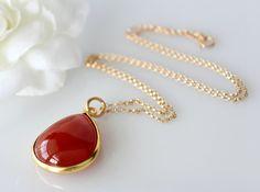 Red Carnelian Pendant Necklace Burnt Orange Redish by ByGerene, $55.00
