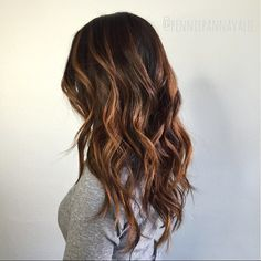 Warm copper brown balayage highlights courtesy of @penniepannavalee