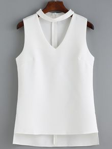 V Neck High Low White Tank Top
