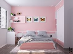 Love pink and butterfly cuadro 🌹 Small Room Bedroom, Bedroom Colors, Room Decor Bedroom, Pink Bedroom Walls, Dream Rooms, Dream Bedroom, Bedroom Wall Designs, Cute Room Decor, Aesthetic Room Decor