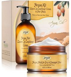 Leave-In Conditioner and Hair Mask Argan Kit - Thin to Normal Hair Care - Exclusive Herbal Oils Complex - Moroccan Moisturizer Anti Frizz Cream 10.1 oz and Deep Conditioner 8.5 oz Set >>> Don't get left behind, see this great outdoor item : Travel Hair care