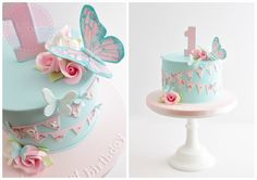 Butterflies, roses and bunting 1st birthday cake
