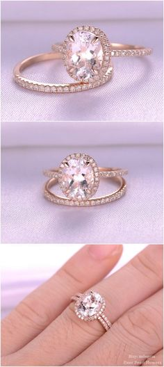 Oval Cut pink Morganite Engagement ring / http://www.deerpearlflowers.com/rose-gold-engagement-rings-from-milegem/2/