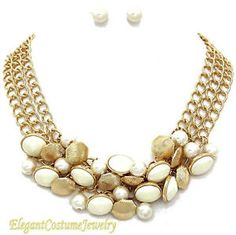 pearl cluster necklace | Details about Gold Pearl Cluster Statement Necklace Set Chunky Elegant ...