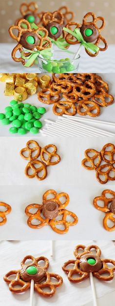 Shamrock Pretzel Pop Steps - Pretzels, Rolos & a Green M&M. SO pretty and festive for a St. Patrick's Day Party! - Plan Provision