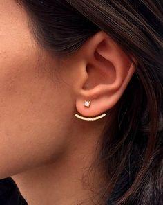 Crystal Ear Jacket ~ Front back earring ~ Ear jacket Earrings ~ Same Day SHIPPING~ Minimalist Ear Jacket / Fashion Ear Jacket  You can combine