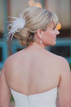 Wedding Updo with feather hair clip // San Diego Wedding // Marina Village