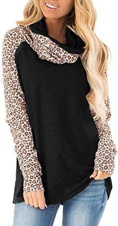 Great for Blivener Women's Casual Sweatshirts Long Sleeve Leopard Print Tops Cowl Neck Raglan Shirts leopard print sandals. ($19.99) findtopgoods from top store