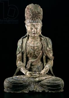 Large seated bodhisattva in meditation, Jin dynasty (1115-1234) (wood & pigment) (see 206545)