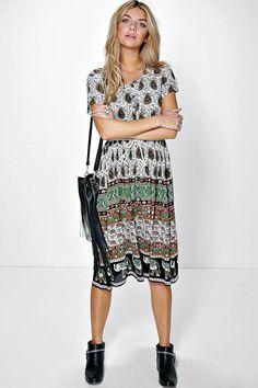 9cd37953b9f49 Dresses   Party, Evening and Maxi Dresses   boohoo Border Print, Pencil  Dress,