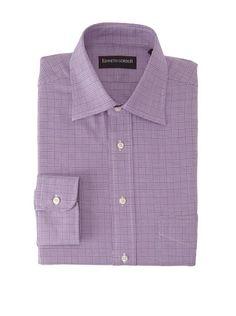 57% OFF Kenneth Gordon Men\'s Plaid Dress Shirt (Lavendar)