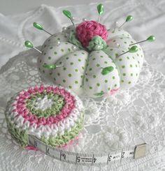 SAM_7957...pretty pincushion and crocheted tape measure cover