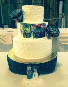 Calumet Bakery Superman and Shabby Chic Wedding Cake