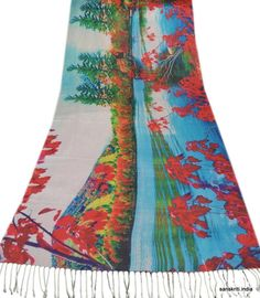 SANSKRITI NEW DIGITAL PRINT WOOLEN SHAWL SCARF STOLE WARM INDIAN MULTI FLORAL #SanskritiVintage #Scarf
